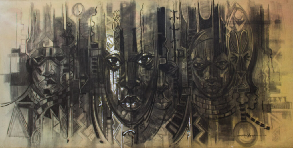 PNT046 String of Culture 3x6ft by Stephen Osochukwu Ludah