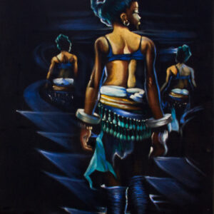 PNT052 Walking Madiens 48x27inches by Ambrose Idahosa
