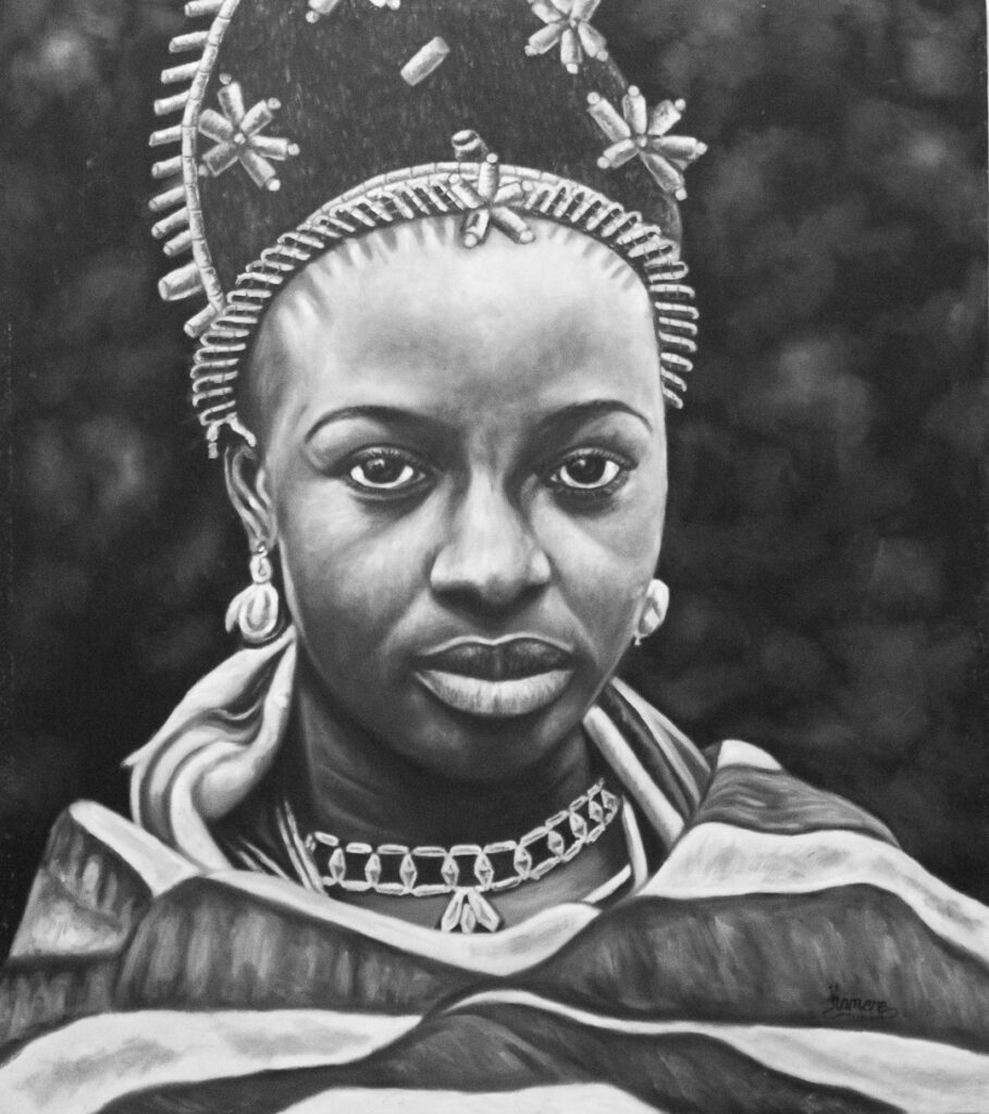PNT056 Queen Ohan, WIFE to Oba Akenzua II 39x45inch by Kamere Emosivbe