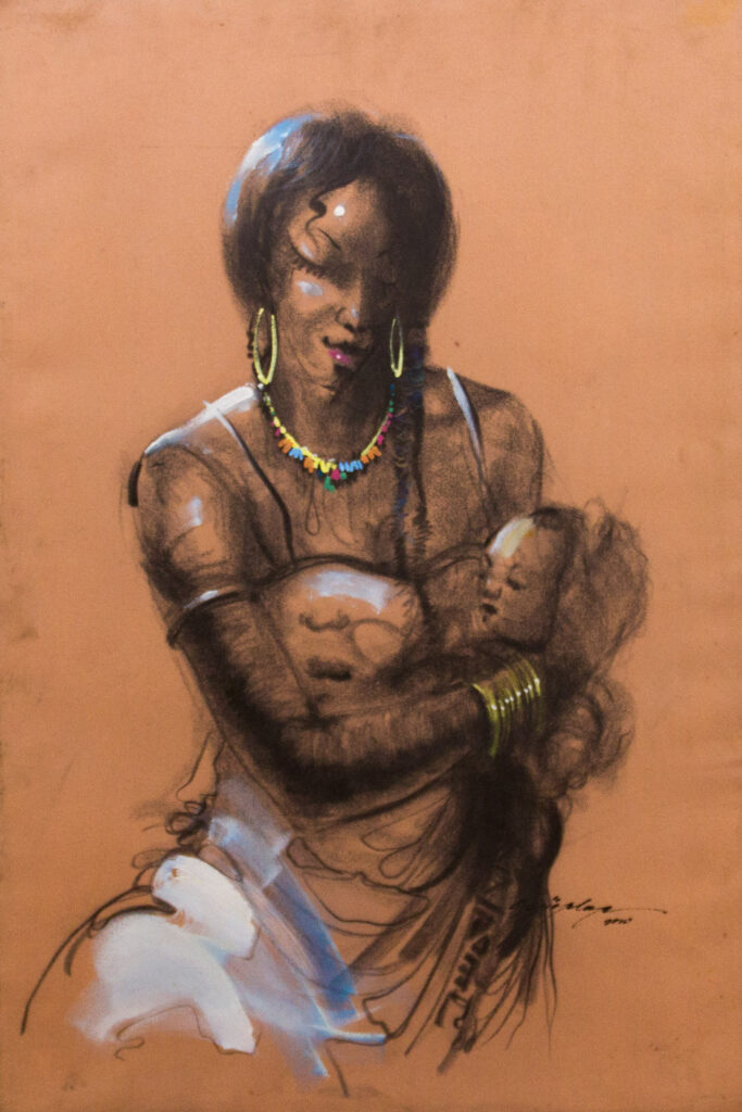 PNT060 Mothers Affection 23x36inches by Soji Oloye (2010)