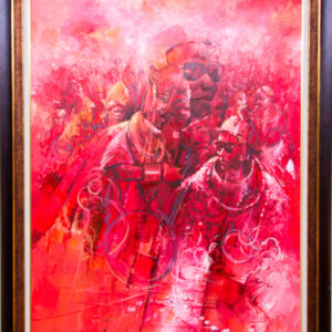 PNT067 Oba Erediauwa and Chiefs in Red 46x57inch by Soji Oloye