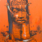 PNT077 Mask in Terracotta 24x36inches by Soji Oloyi (2010)