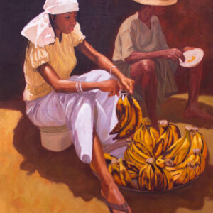 PNT59 Plantain Seller 53x47inches by Oresegun Olumide