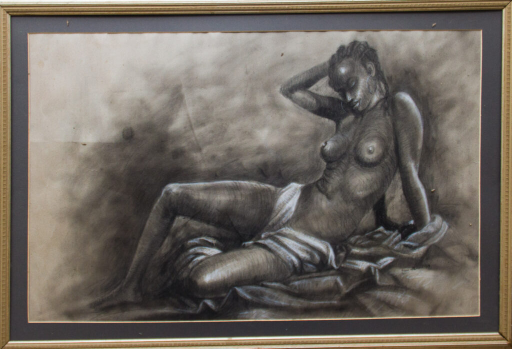 PNT92 Sitting Female Figure 22x40inches by femi williams